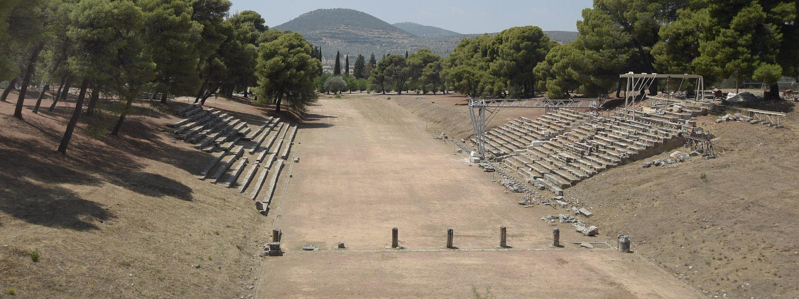 het stadion in het Asklepiosheiligdom