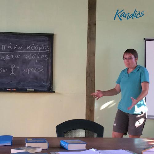 Een presentatie in de Griekse taalles B1 in Epidavros