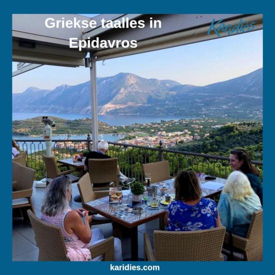 Griekse conversatieles met uitzicht